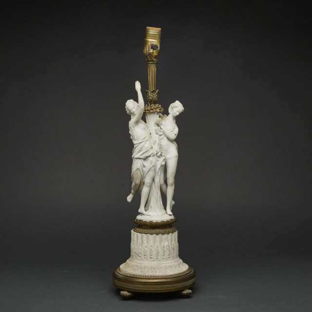 Ormolu Mounted 'Sèvres' White Biscuit Group of Two Maidens, late 19th century