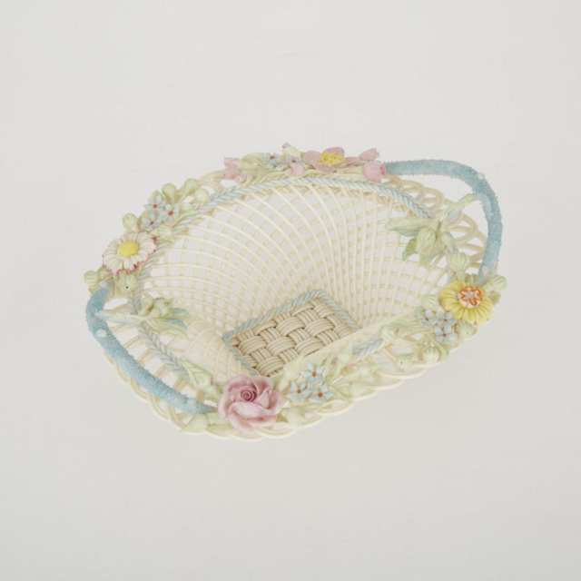 Belleek Two-Handled Painted Henshall's Twig Basket, 20th century
