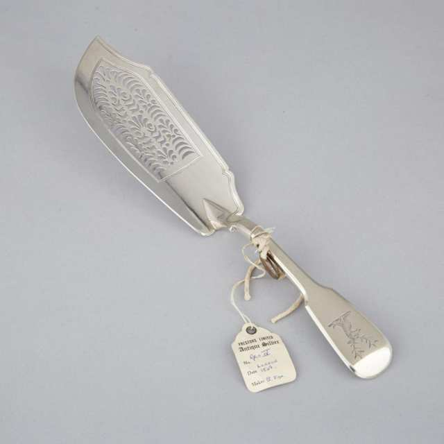 George IV Silver Fiddle Pattern Fish Slice, Charles Fox, London, 1829