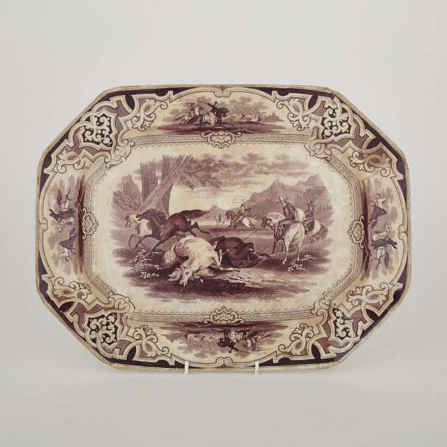 W. Baker & Co. Mulberry Printed 'Lasso' Octagonal Platter, mid-19th century