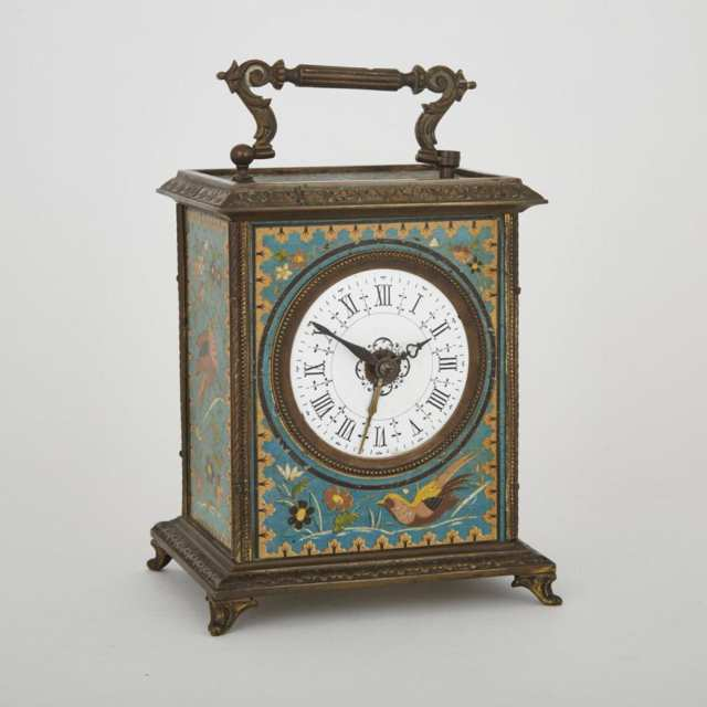 French Orientalist Lithographed Tin Carriage Alarm Clock, Japy Freres & Cie, c.1878