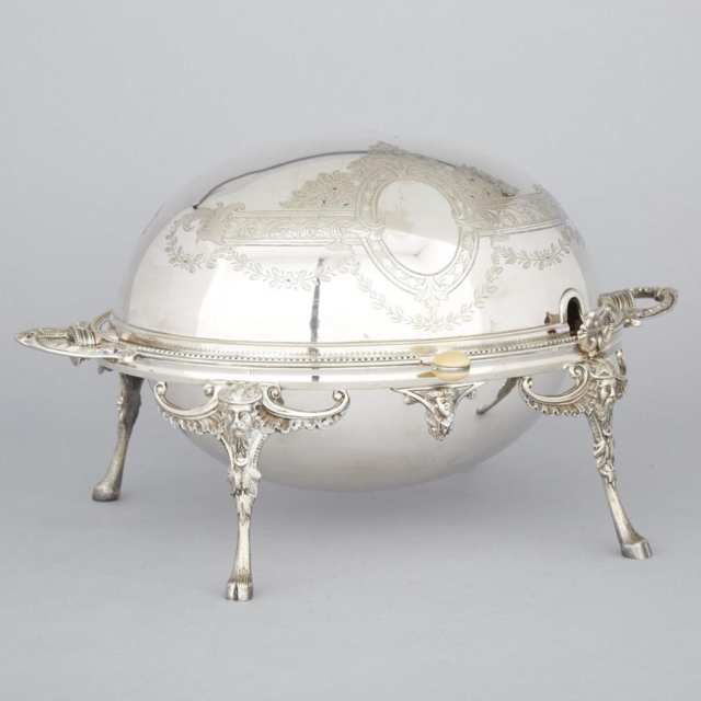 English Silver Plated Oval Breakfast Dish, Walker & Hall, early 20th century