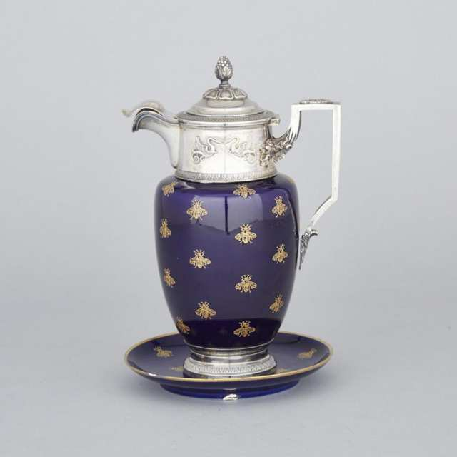 French Silver Mounted 'Sèvres' Syrup Jug and Stand, V. Boivin, Paris, c.1900
