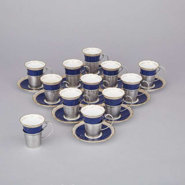 Twelve English Silver Mounted Spode Coffee Cups and Eleven Saucers, Charles S. Green & Co., Birmingham, 1921
