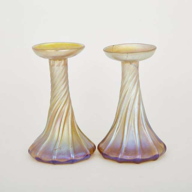 Pair of Tiffany 'Favrile' Iridescent Glass Candlestick Vases, early 20th century