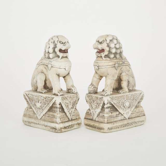 Pair of Chinese Carved Marble Foo Lions, early 20th century