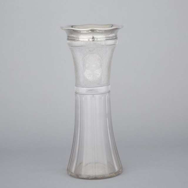 American Silver Mounted Glass Vase, Gorham Mfg. Co., Providence, R.I., 1918