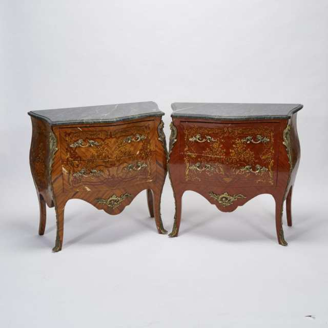 Pair of Louis XV Style Ormolu Mounted, Marquetry and Penwork Decorated Kingwood Commodes, mid 20th century
