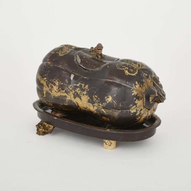 Burmese Lacquered Lead Squash Form Caddy on Stand, 19th century