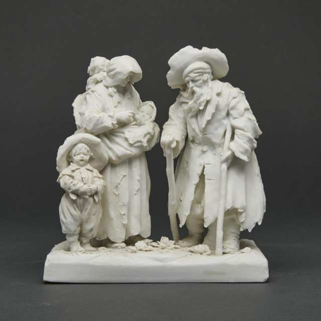 Volkstedt White Biscuit Figure Group of a Peasant Family, 19th century