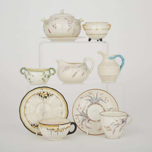 Group of Belleek Teawares with Painted and Moulded Decoration, c.1863-1946