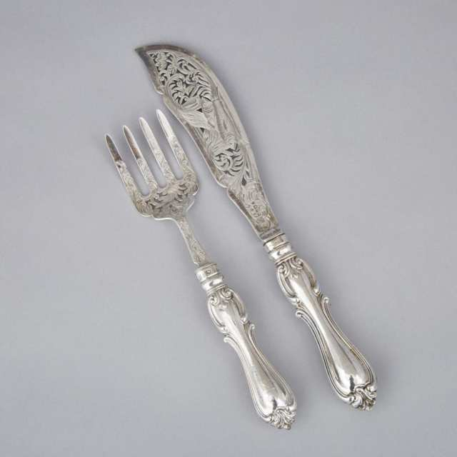 Pair of Victorian Silver Fish Servers, Aaron Hadfield, Sheffield, 1851