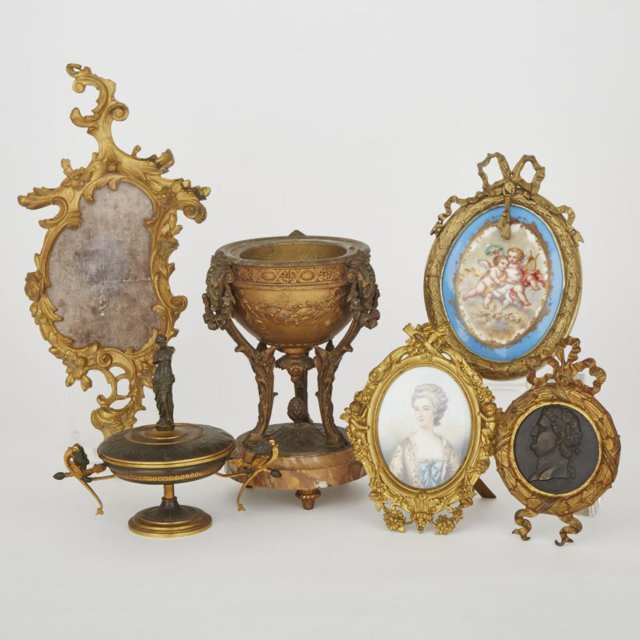 Group of Mostly French Gilt Metal and Bronze Decorations, 19th/20th centuries