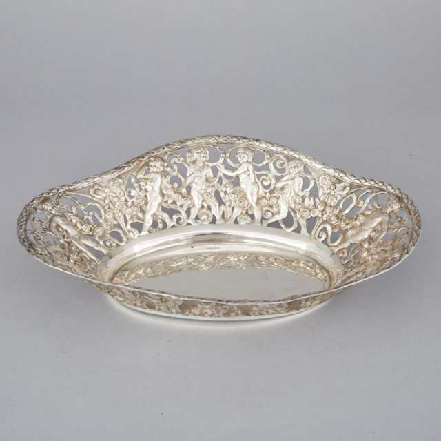 Continental Silver Pierced Oval Bowl,  early 20th century