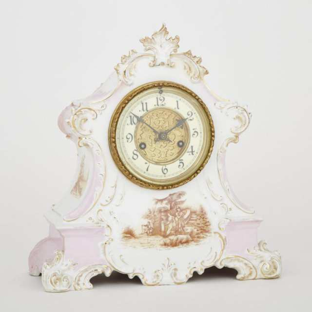 Victorian Porcelain Mantle Clock, Waterbury Clock Co., 19th century
