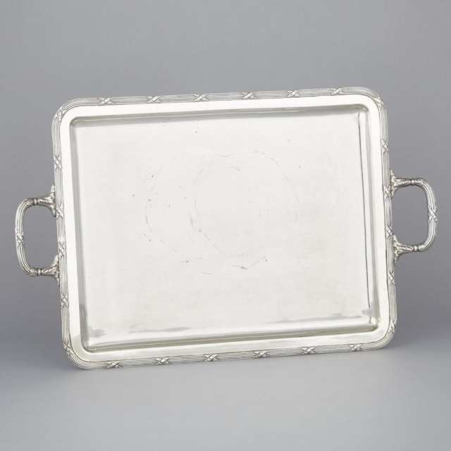 Spanish Silver Two-Handled Rectangular Serving Tray, 20th century