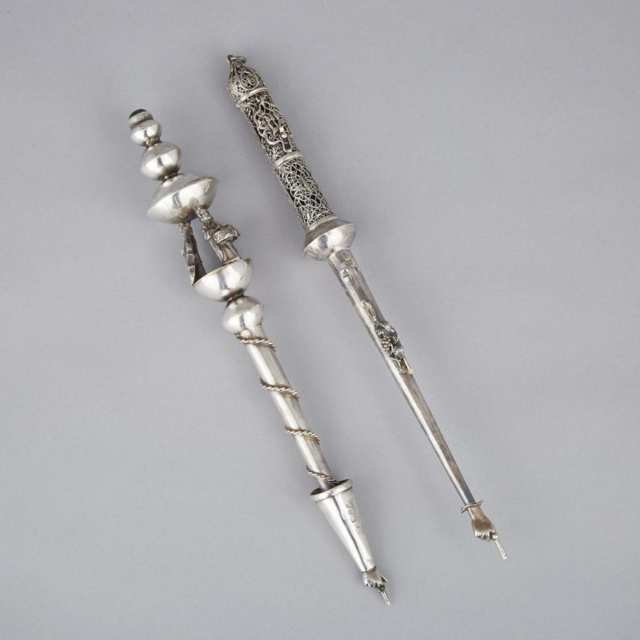 Two Russian Silver Yads or Torah Pointers, 20th century