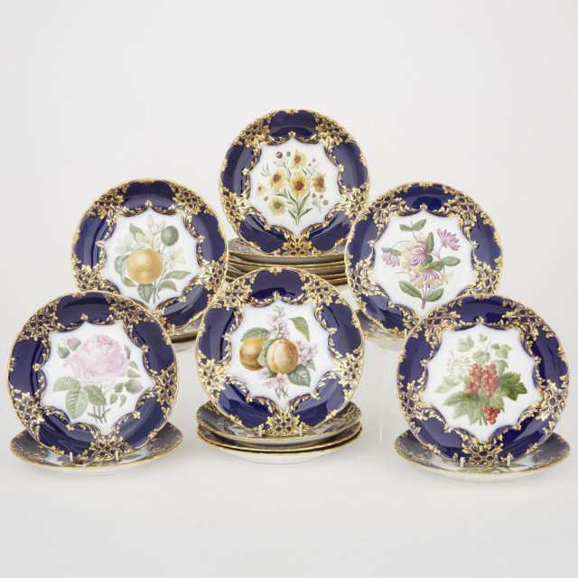 Twenty French Blue and Gilt Banded Fruit and Floral Decorated Dessert Plates, late 19th century