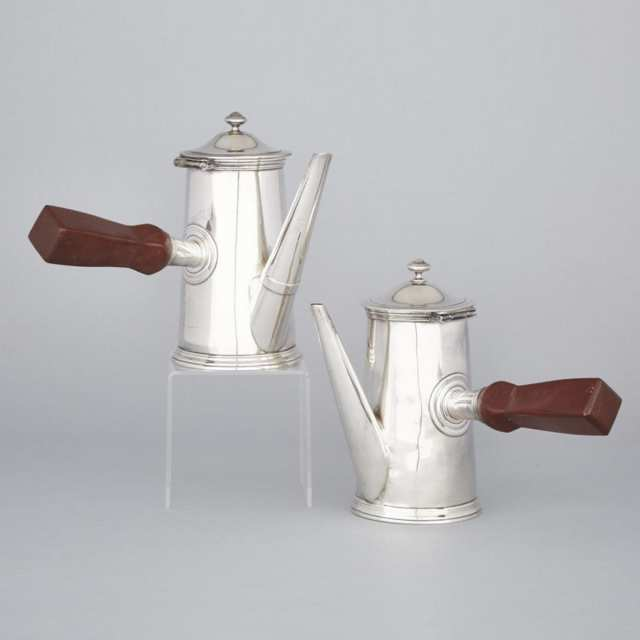 Pair of French Silver Plated Coffee Pots, Christofle, 20th century