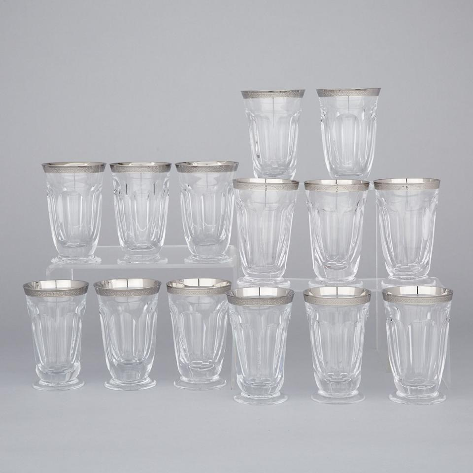 Fourteen Moser Cut Glass 'Lady Hamilton Platinum' Pattern Water Tumblers, 20th century