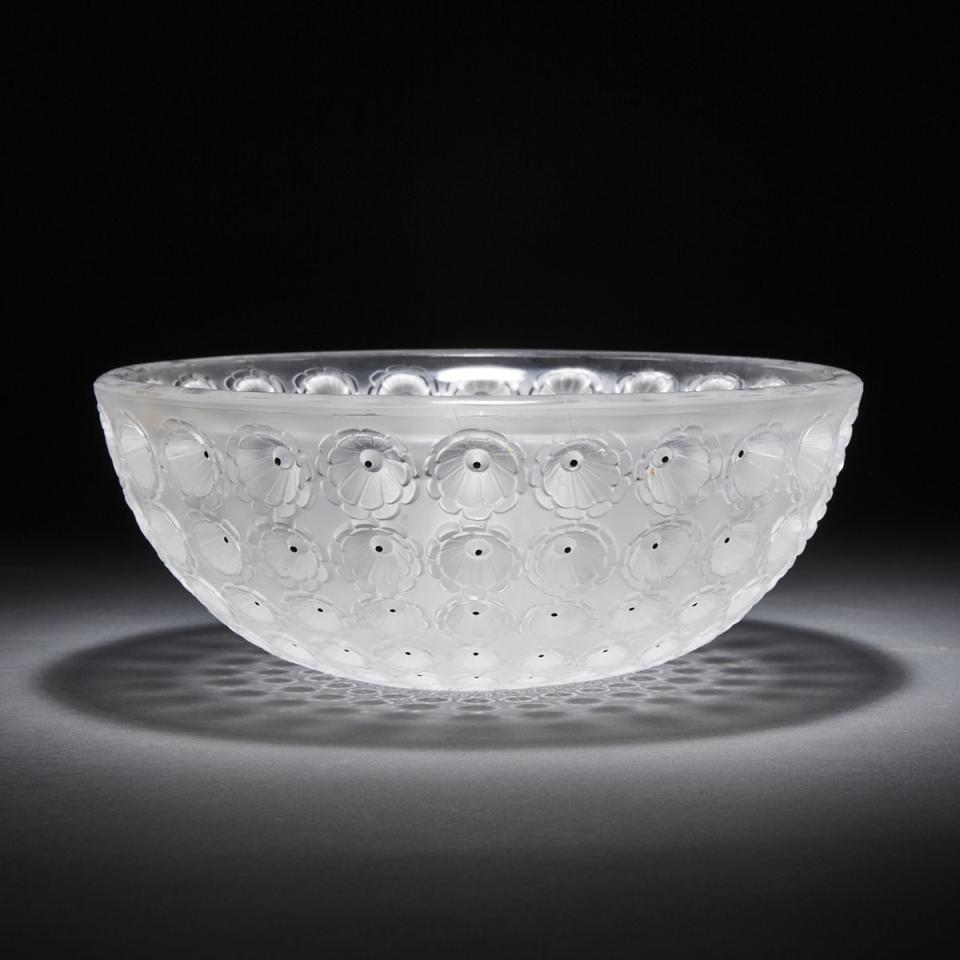 'Nemours', Lalique Frosted and Enameled Glass Bowl, post-1945