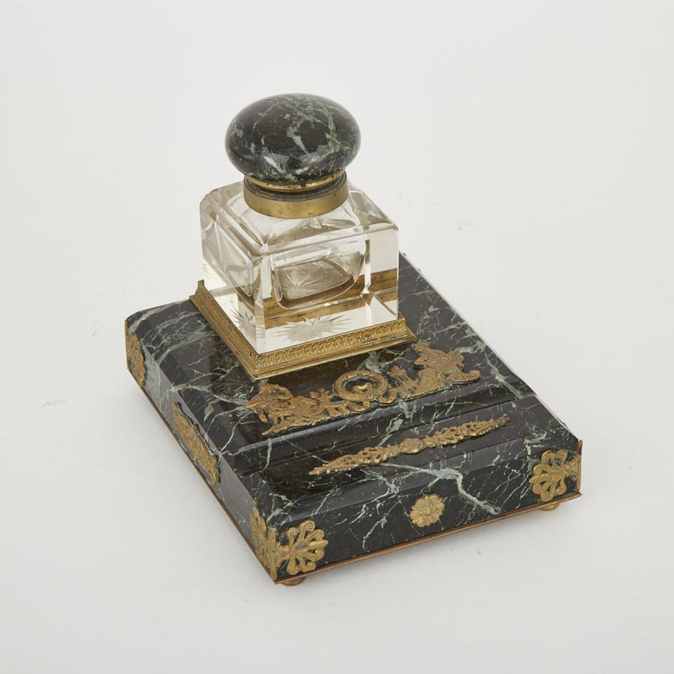 French Empire Ormolu Mounted Verde Antique Marble and Glass Ink Stand, c.1900