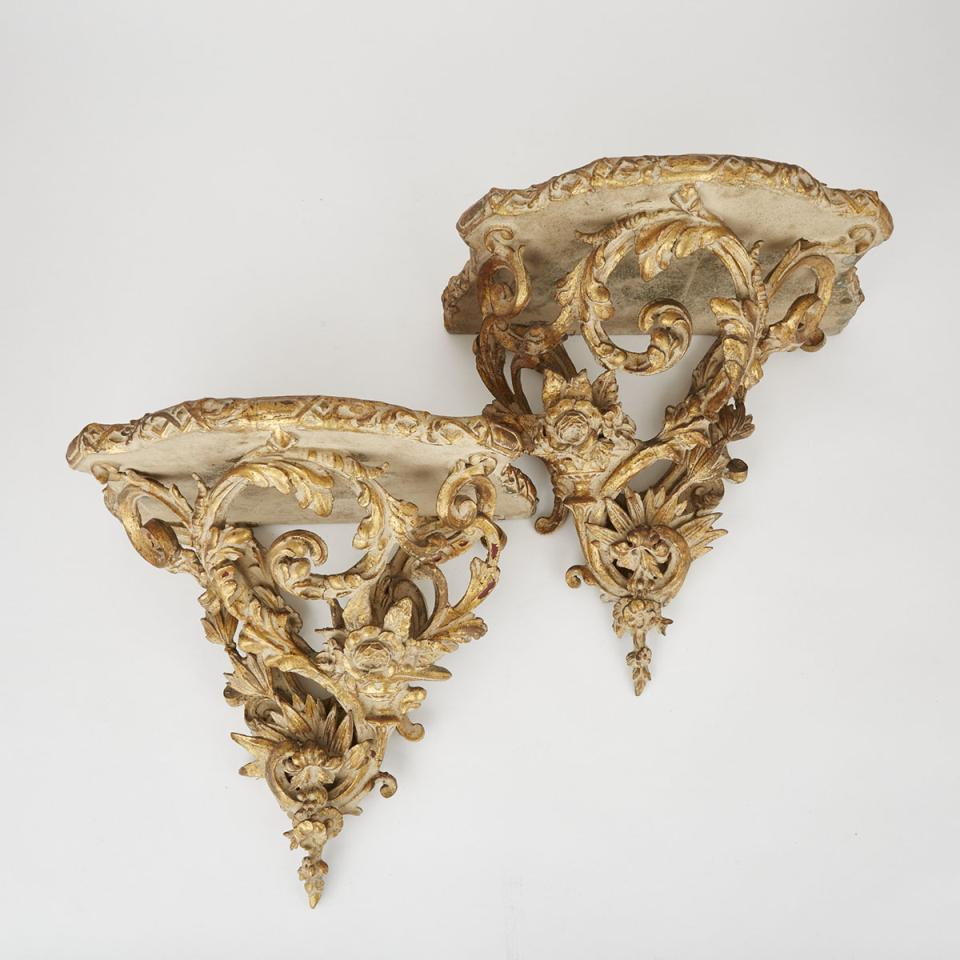 Pair of Large Florentine Carved Giltwood Wall Brackets, mid 20th century