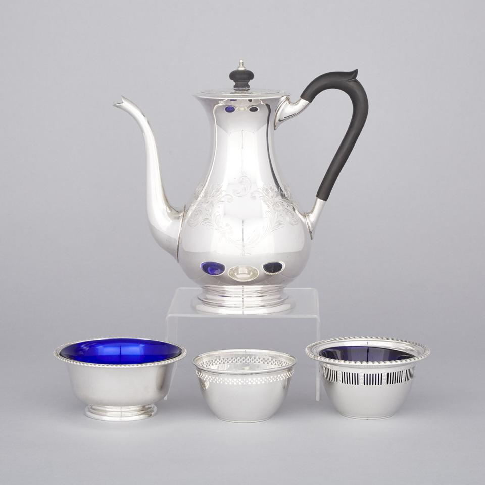 Canadian Silver Coffee Pot and Three Small Bowls, Henry Birks & Sons, Montreal, Que., 20th century