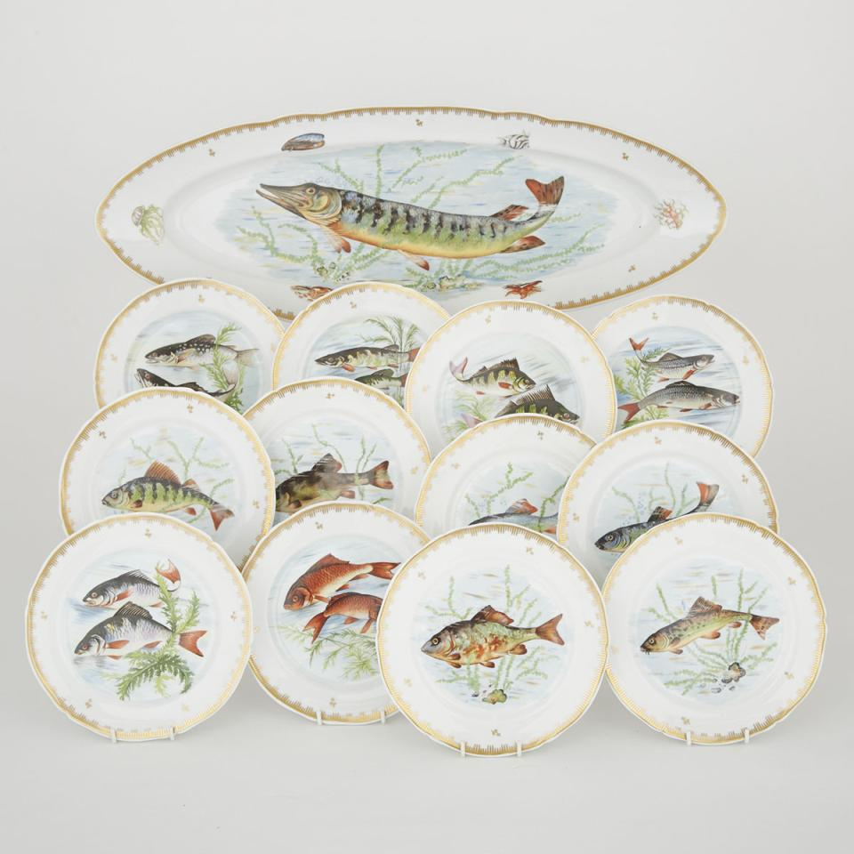 French Porcelain Oval Fish Platter and Twelve Plates
