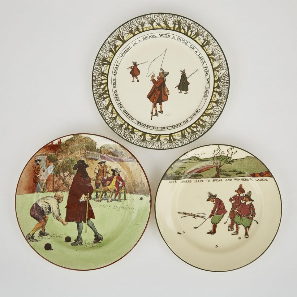 Three Royal Doulton 'Sporting' Rack Plates, early 20th century