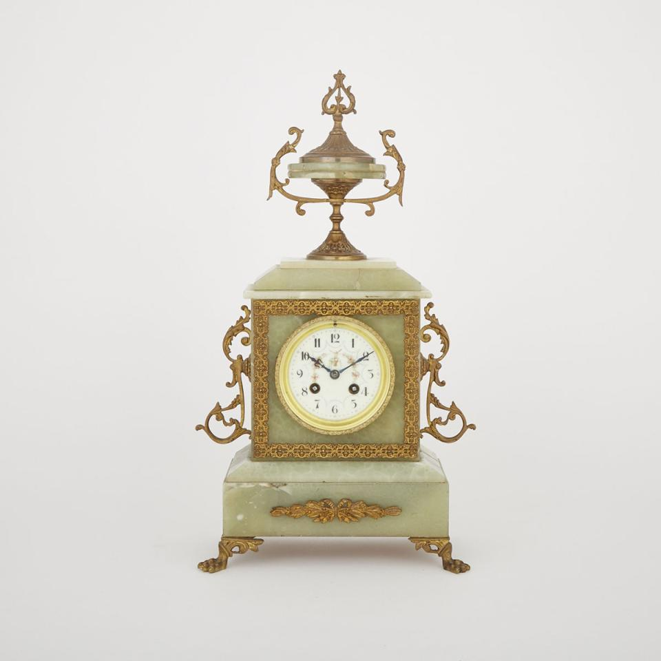 French Ormolu Mounted Green Onyx Mantle Clock, c.1870