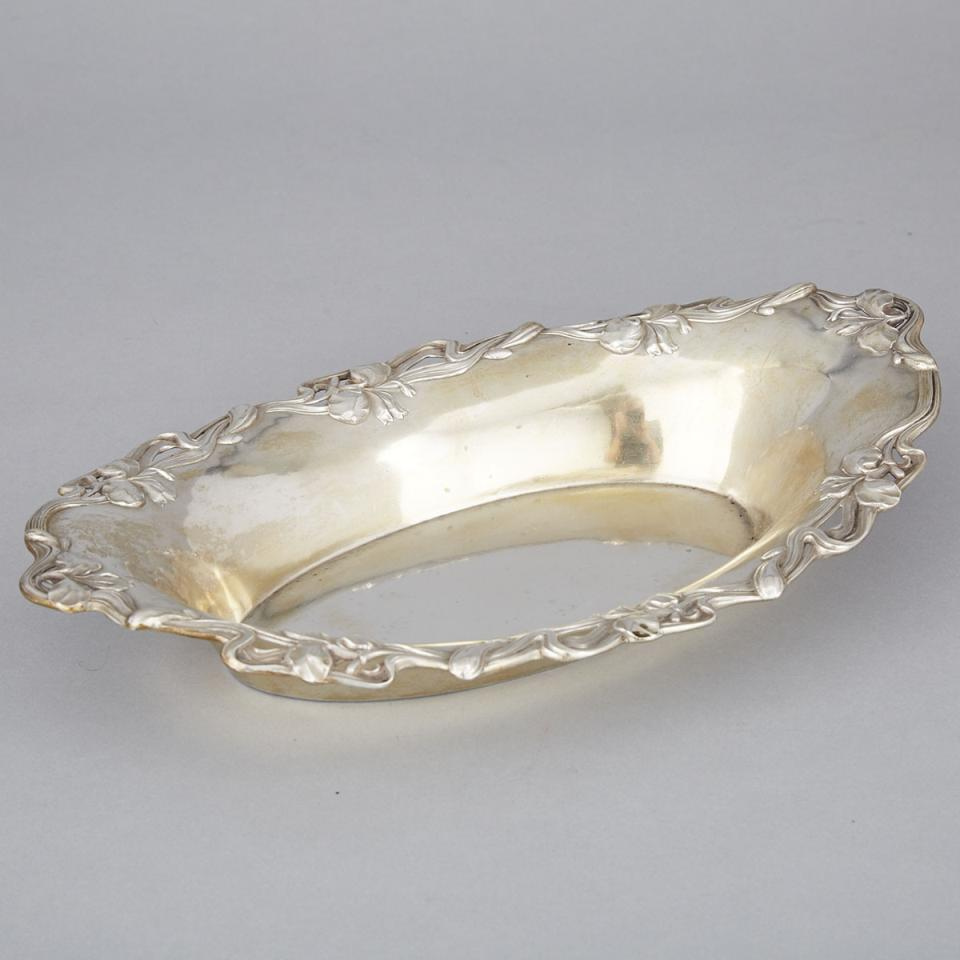 German Silver Oval Bowl, Wilhelm Binder, Schwäbisch Gmünd, early 20th century