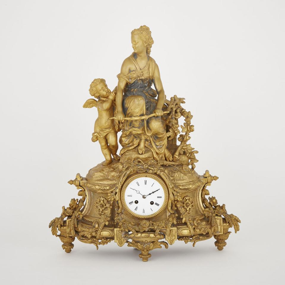 French Gilt Metal Figural Clock, 19th century