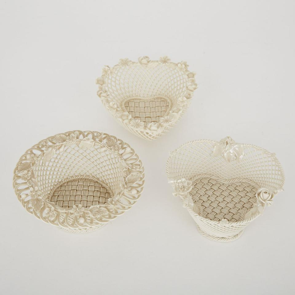 Three Belleek Baskets with Applied Ornament, 20th century