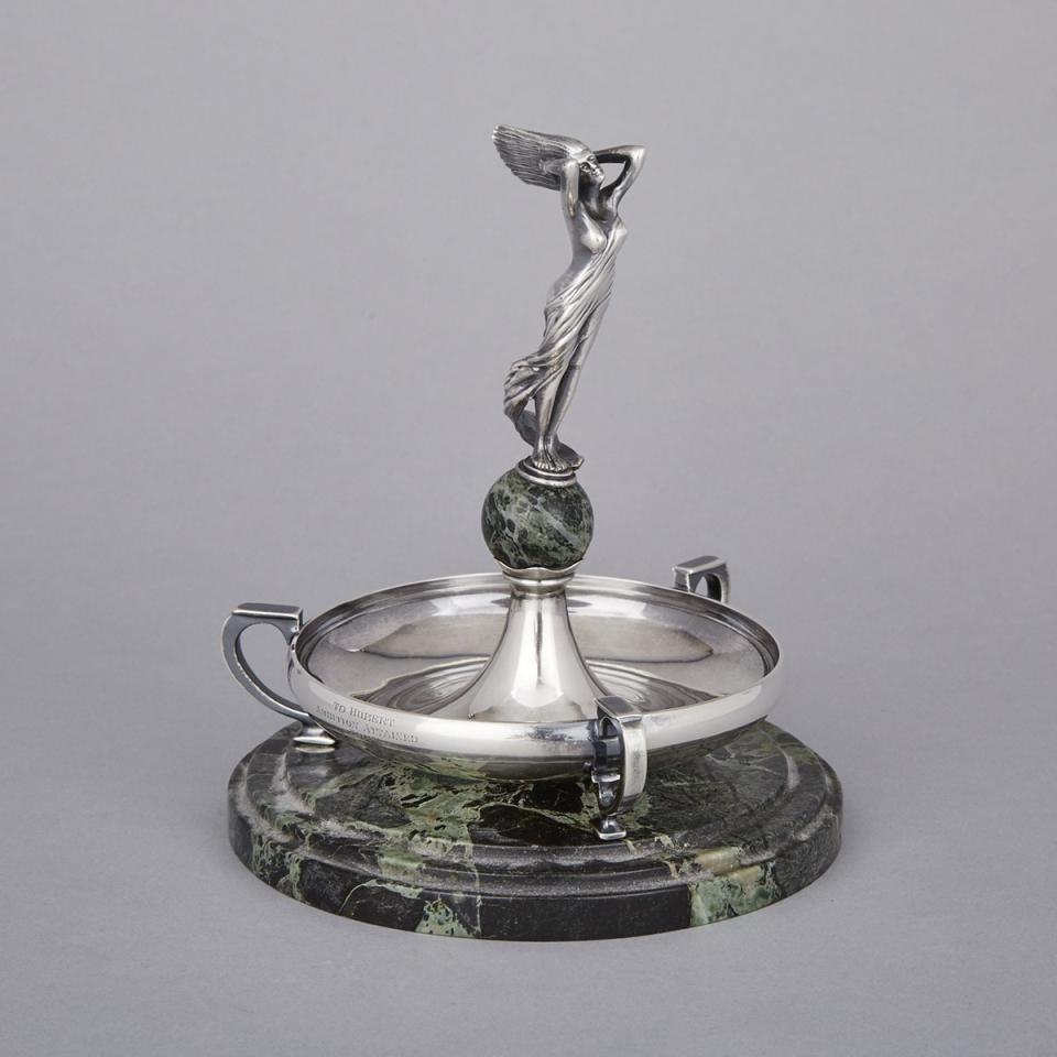 English Silver and Veined Green Marble Figural Vide-Poche, Roberts & Belk, Sheffield, 1930