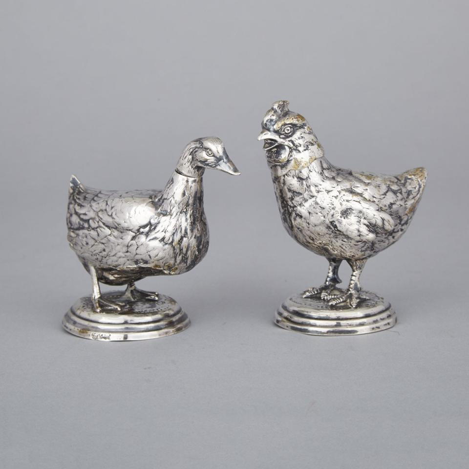 Pair of German Silver Bird-Form Casters, probably Hanau, c.1900