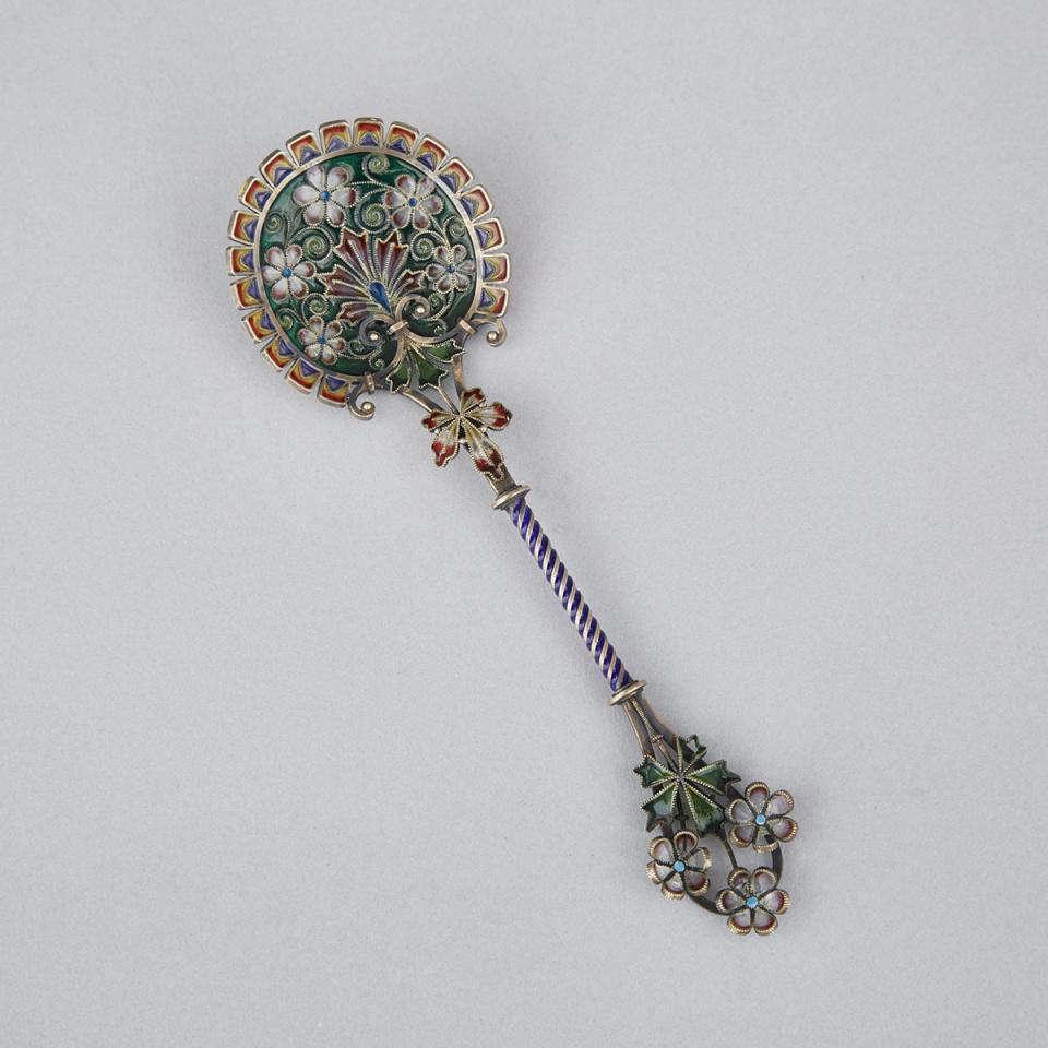 Norwegian Plique-à-Jour Enameled Silver Spoon, David Andersen, early 20th century