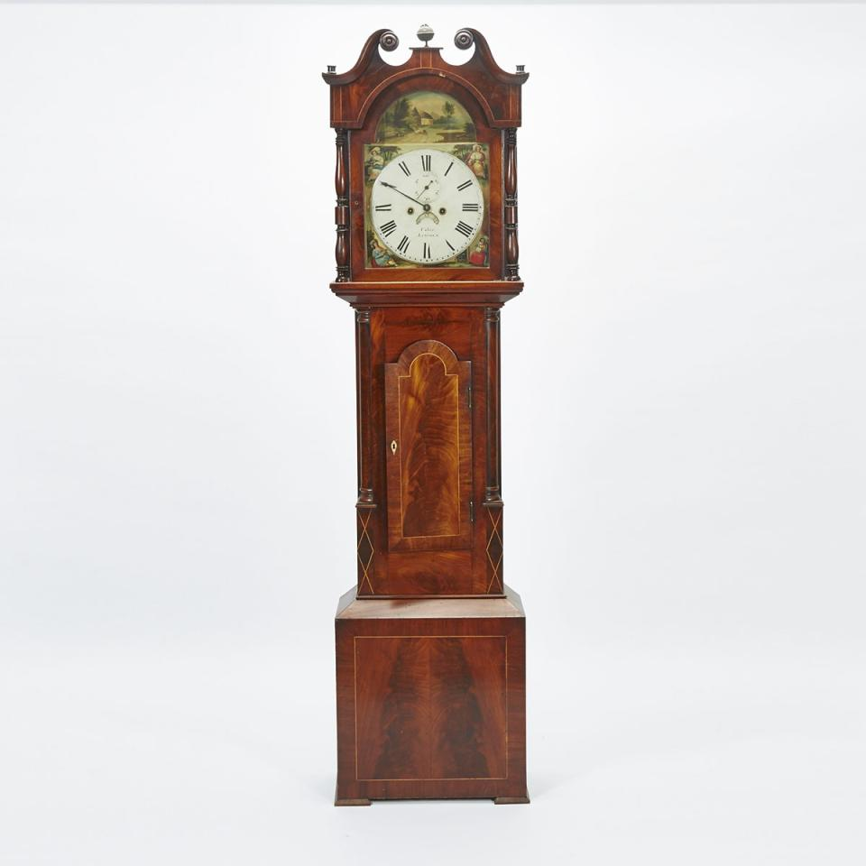 English Mahogany Tall Case Clock, Usher, Lincoln, early 19th century