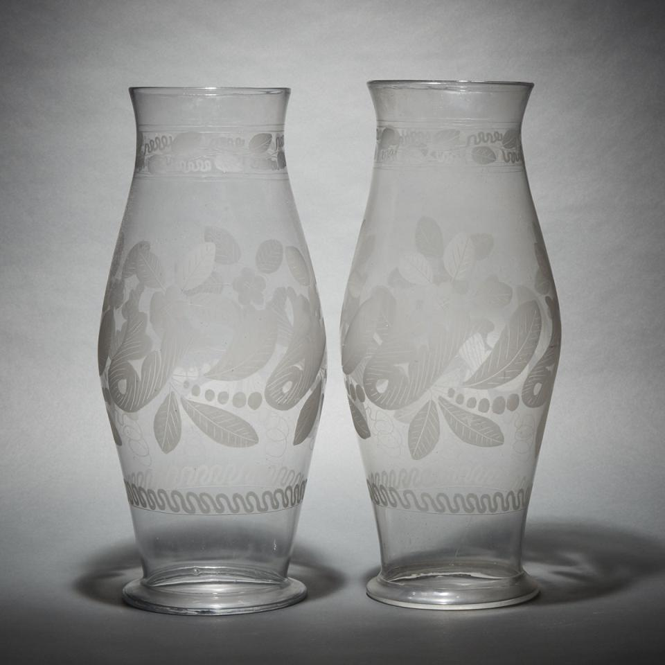 Pair of Large Continental Etched Glass Hurricane Candle Shades, 19th century