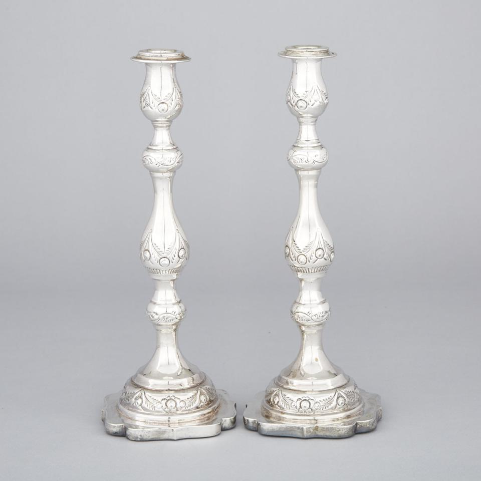 Pair of English Silver Table Candlesticks, Morris Salkind, London, 1929
