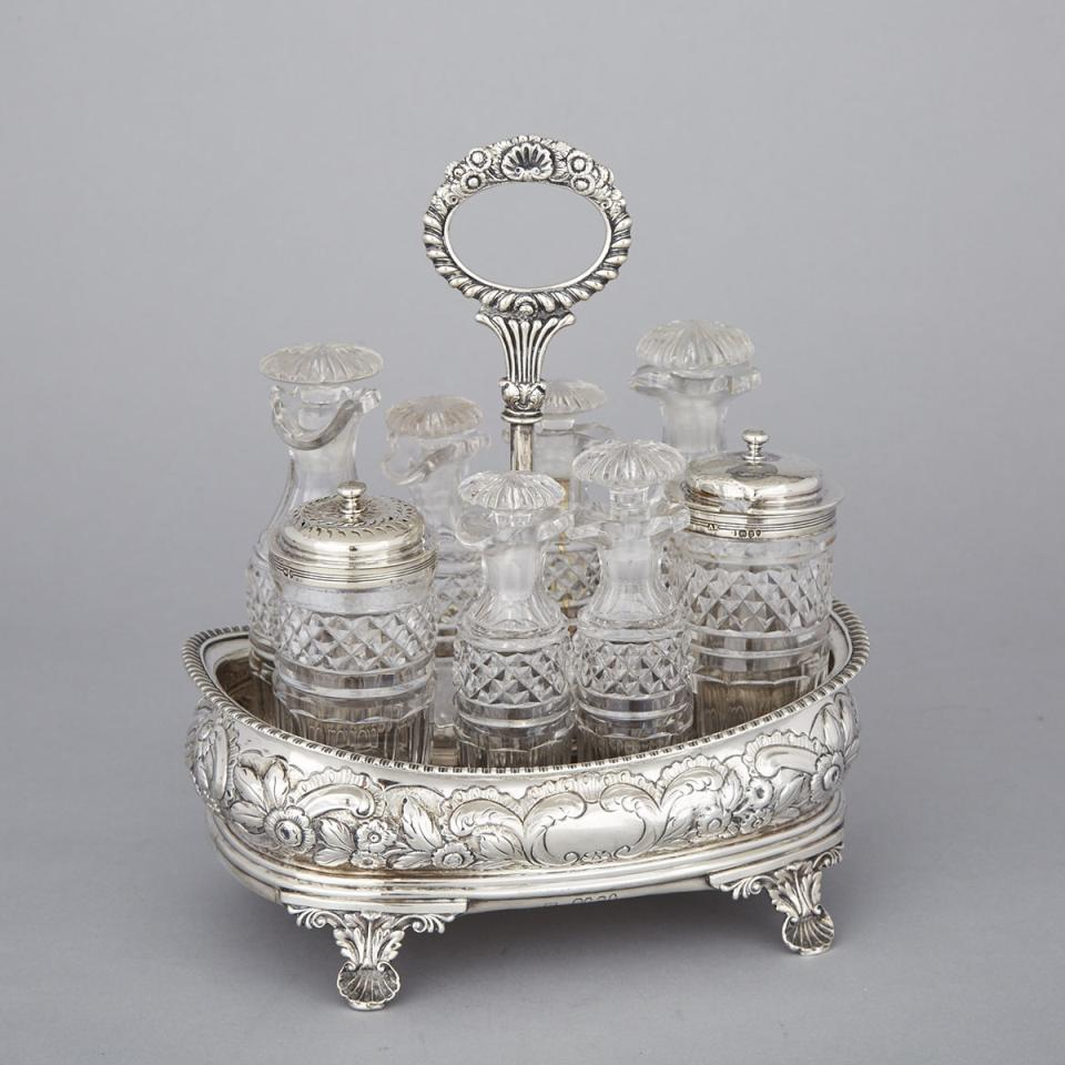 George IV Silver and Cut Glass Eight-Bottle Cruet, Abstinando King, London, 1822