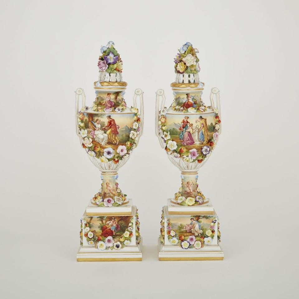 Pair of Carl Thieme Potschappel Dresden Covered Vases, 20th century