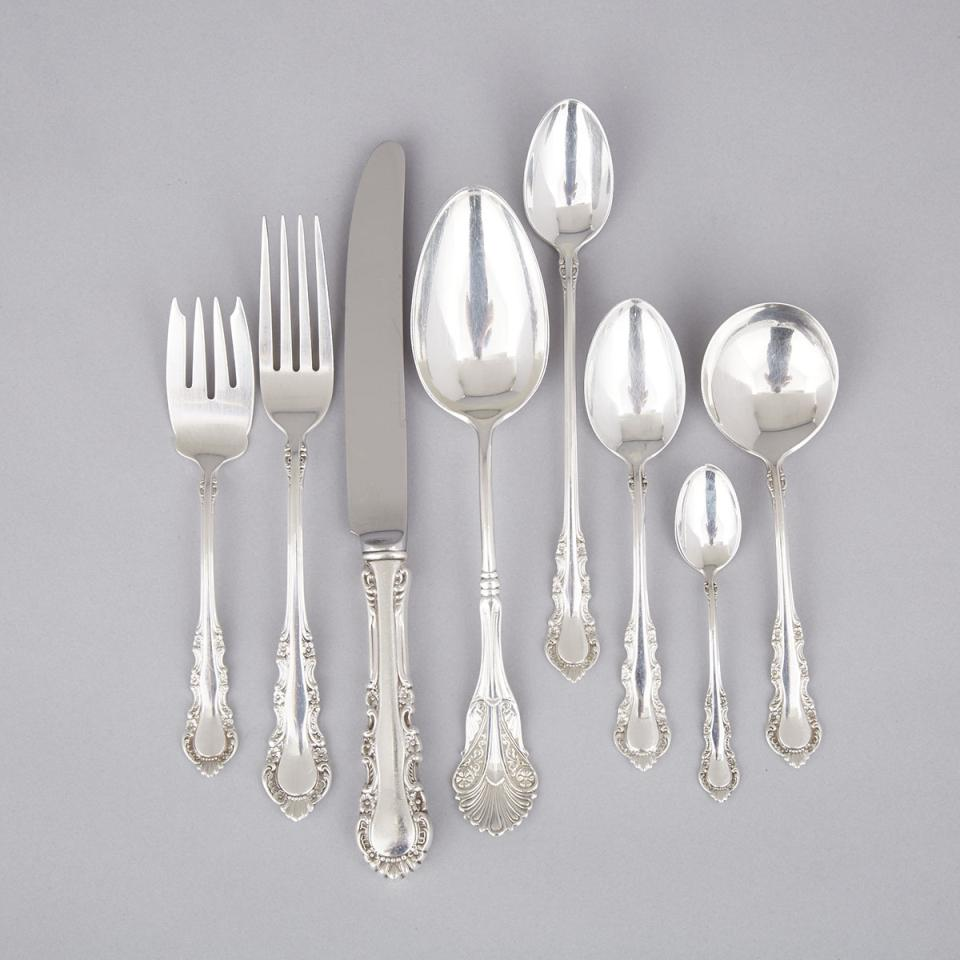 American Silver 'Georgian Rose' Pattern Flatware Service, Reed & Barton, Taunton, Mass., early 20th century