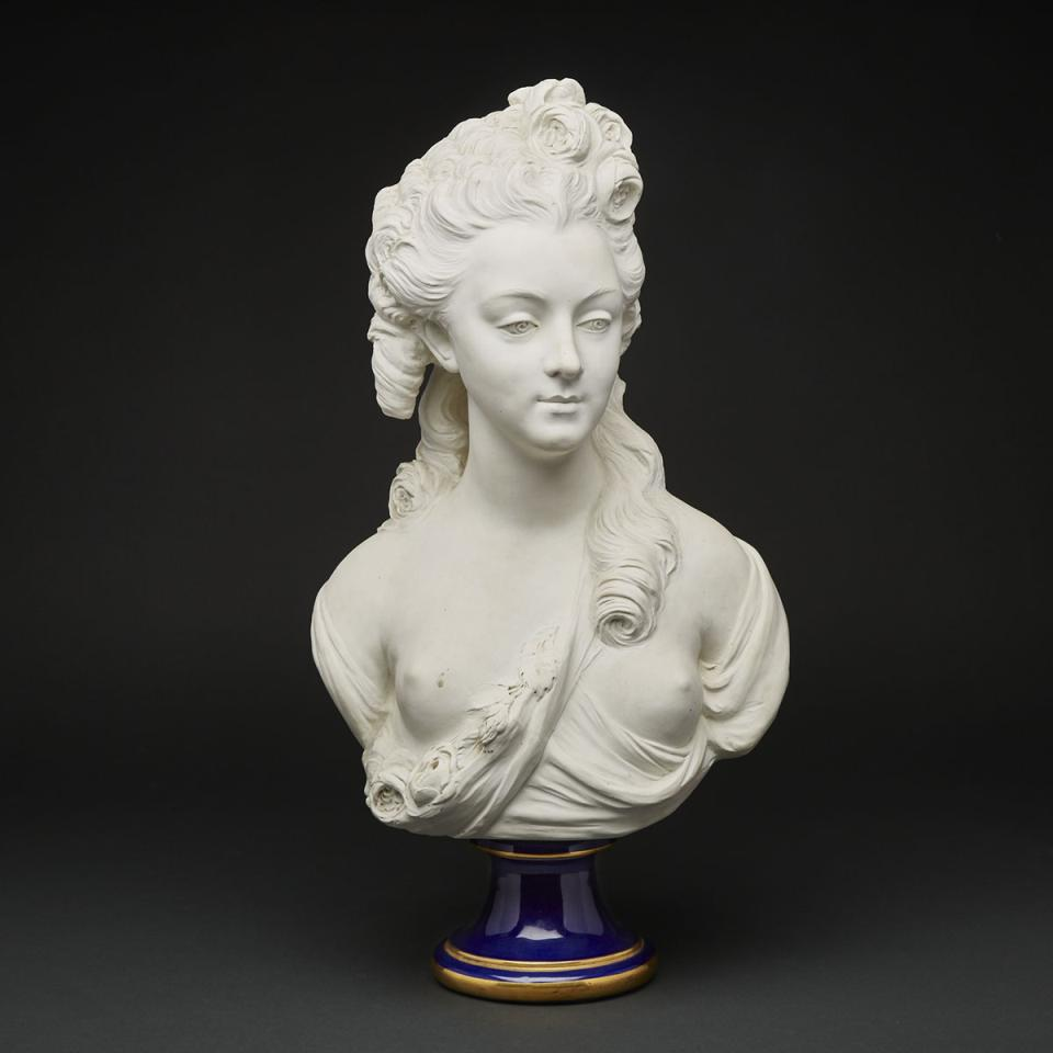 'Sèvres' White Biscuit Portrait Bust of a Young Lady, after Caffieri, 20th century