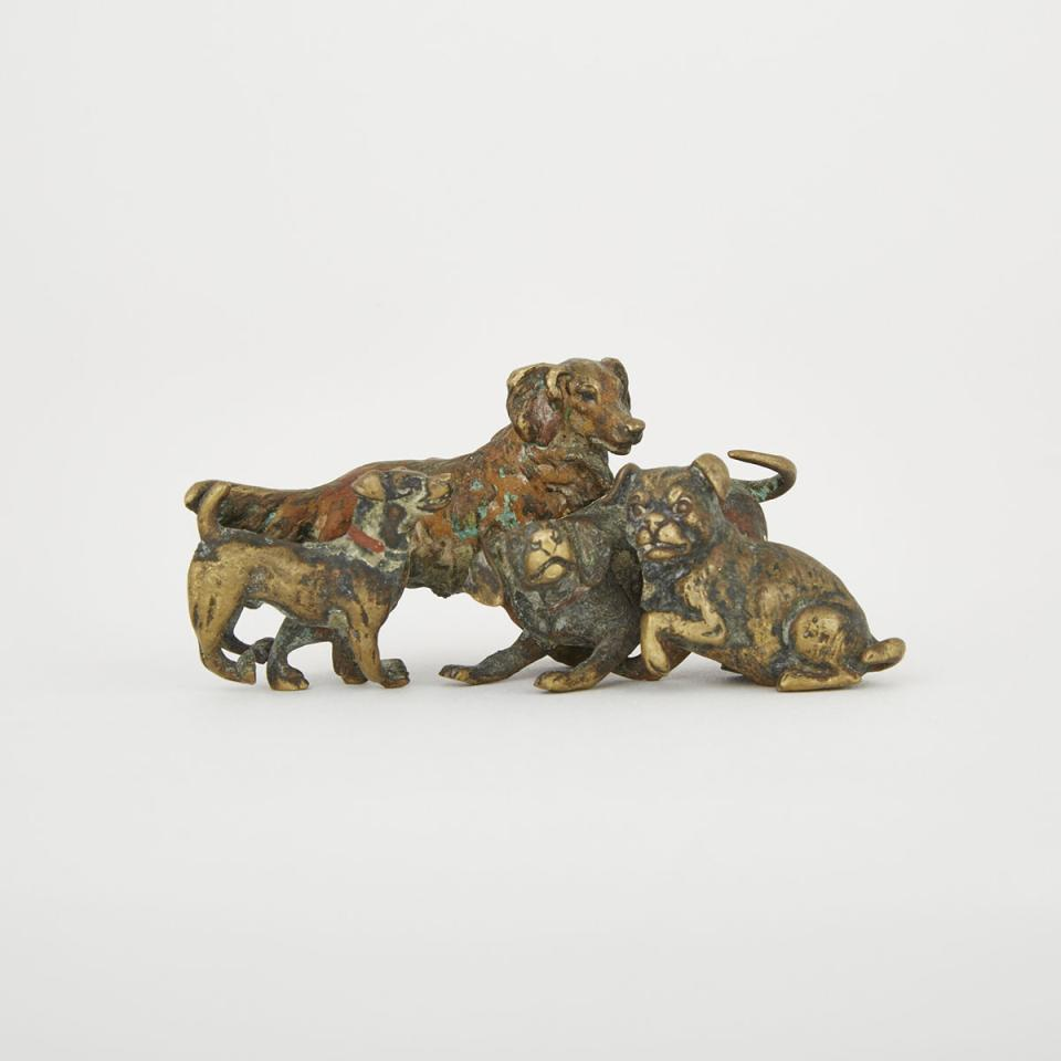 Small Austrian Cold Painted Bronze Group of Dogs, c.1900