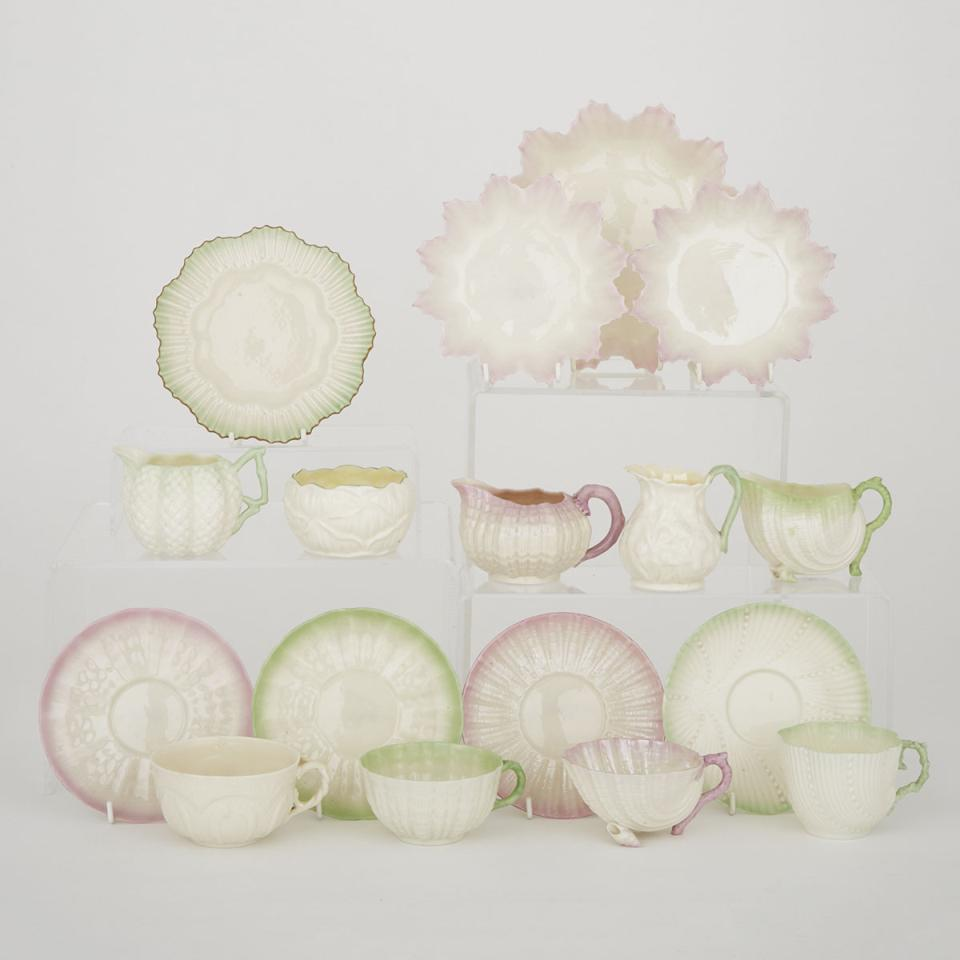 Group of Belleek Plates and Teaware with Pink and Green Painted Details, c.1891-1926