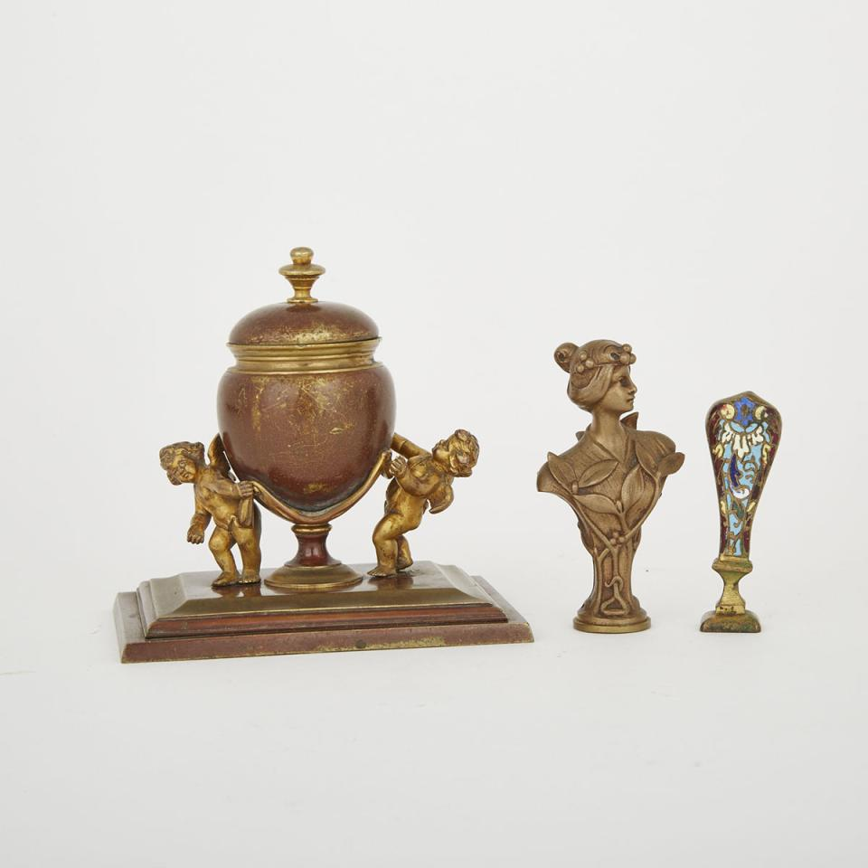 Group of Bronze Desk Accessories, 19th/early 20th century