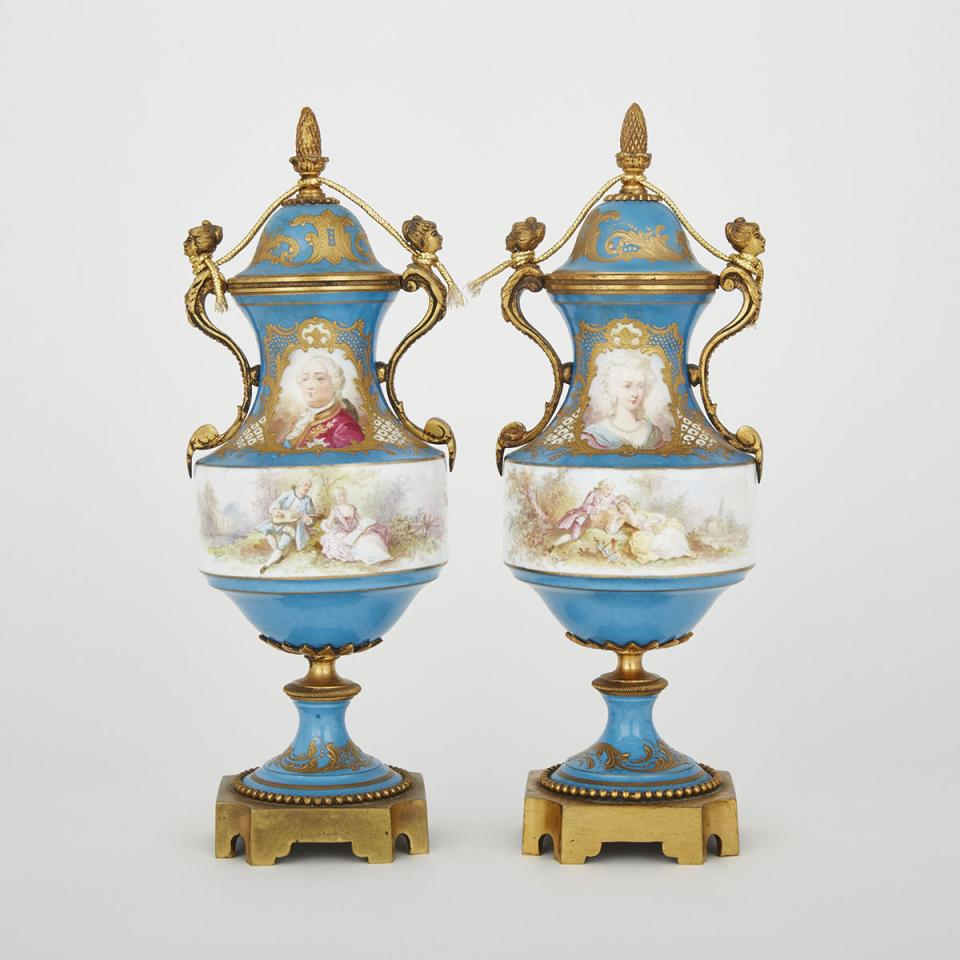 Pair of Gilt Bronze Mounted 'Sèvres' Blue Ground Vases and Covers, 19th century