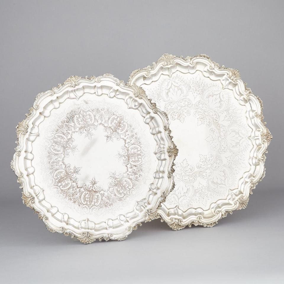 Two English Silver Plated Large Circular Salvers, 20th century