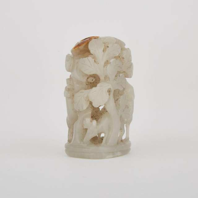 A White and Russet Jade Finial